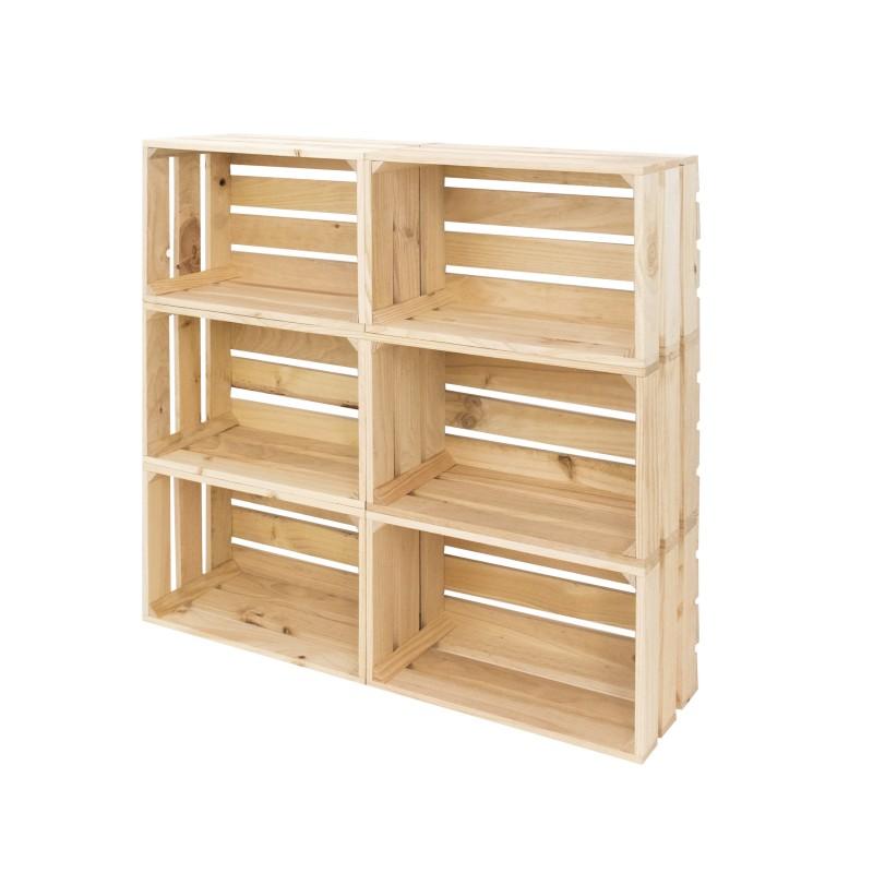 Pack 6 cajas grandes naturales venta de todo tipo de cajas de madera online - Cajas de madera online ...