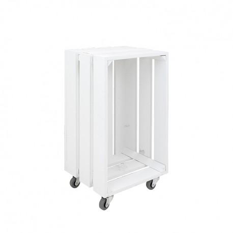 Caja blanca vertical grande con ruedas