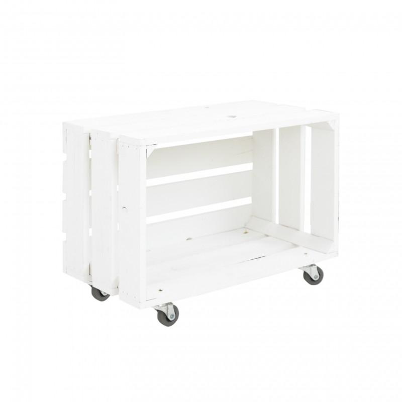 Caja grande con ruedas horizontal pintada blanca venta for Cajas de madera blancas