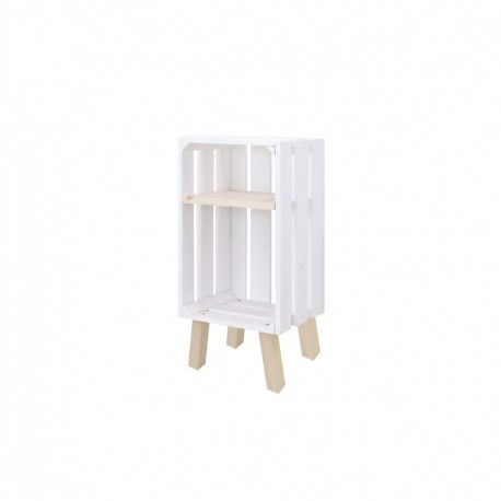 Mesita de noche caja vertical con estante pintada de blanco