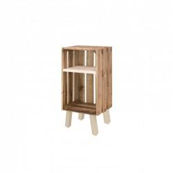 Mesita de noche caja vertical con estante envejecida