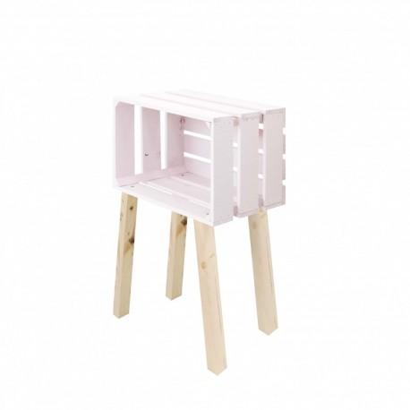 Mesita caja horizontal de tres lamas pintada rosa pastel