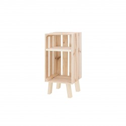 Mesita de noche caja vertical con estante natural
