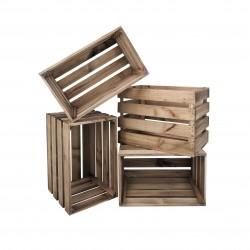 Pack 4 cajas cuadradas envejecidas