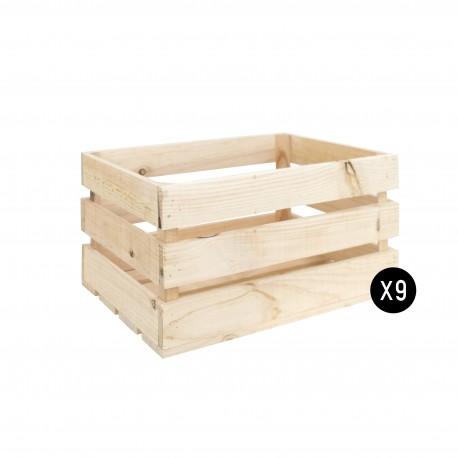 Pack 9 cajas grandes naturales
