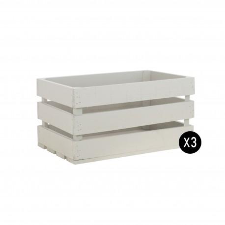 Pack 3 cajas grandes color crema