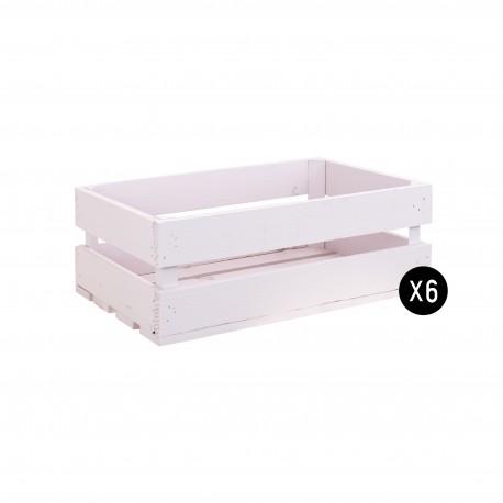 Pack 6 cajas medianas color rosa pastel