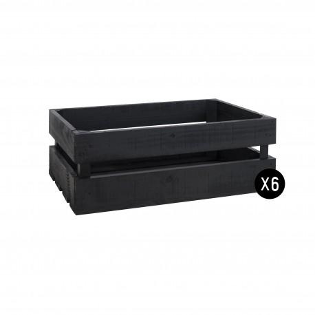 Pack 6 cajas medianas color pizarra