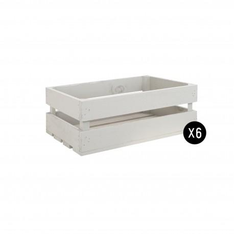 Pack 6 cajas medianas color gris claro