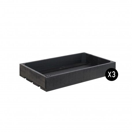 Pack 3 cajas color negro pizarra pequeñas