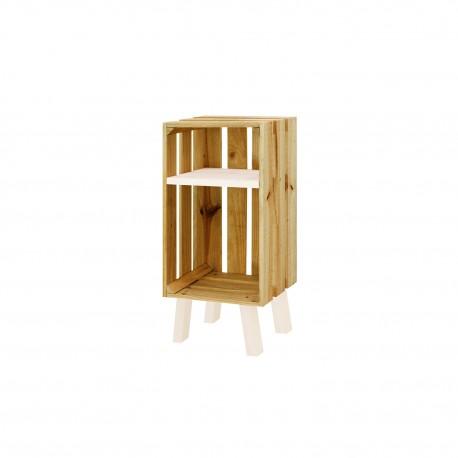 Mesita de noche caja vertical con estante acabado olivo